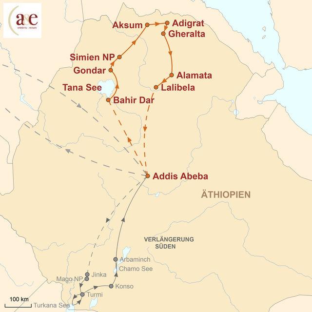 Reiseroute unserer Äthiopien Reise Wiege der Menschheit