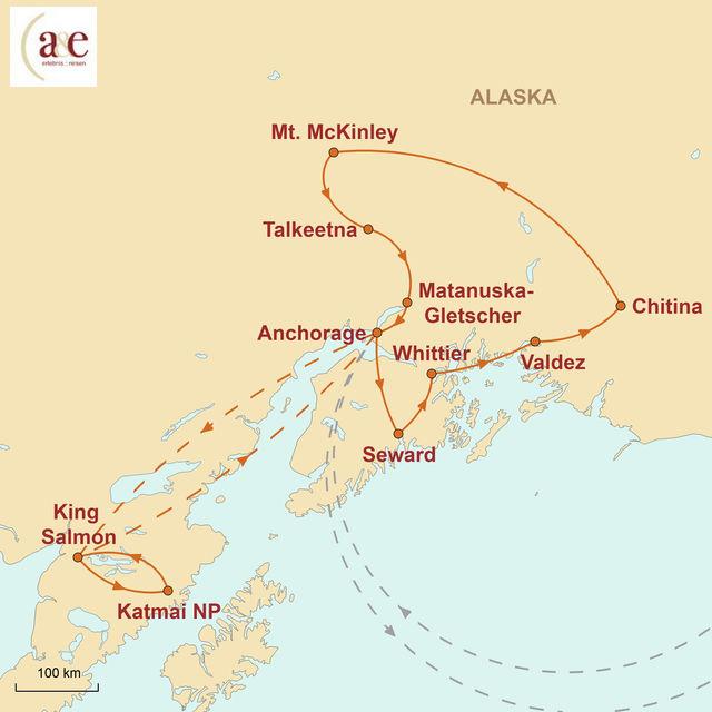 Reiseroute unserer Alaska Reise Bären, Lachse, Gletscher