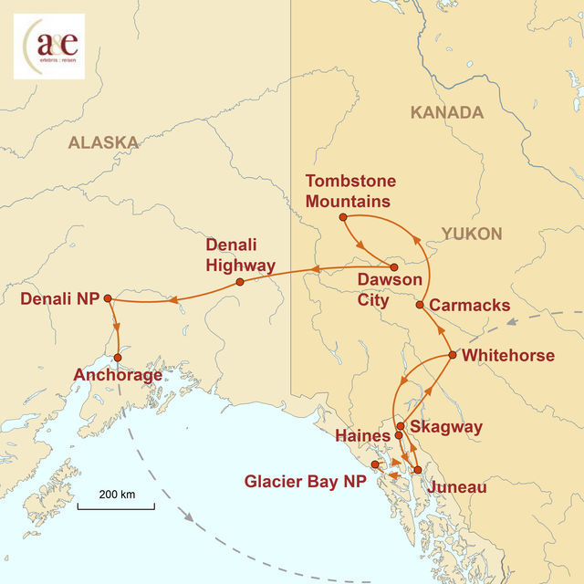 Reiseroute unserer Alaska Kanada Reise Wildnis und Mitternachtssonne