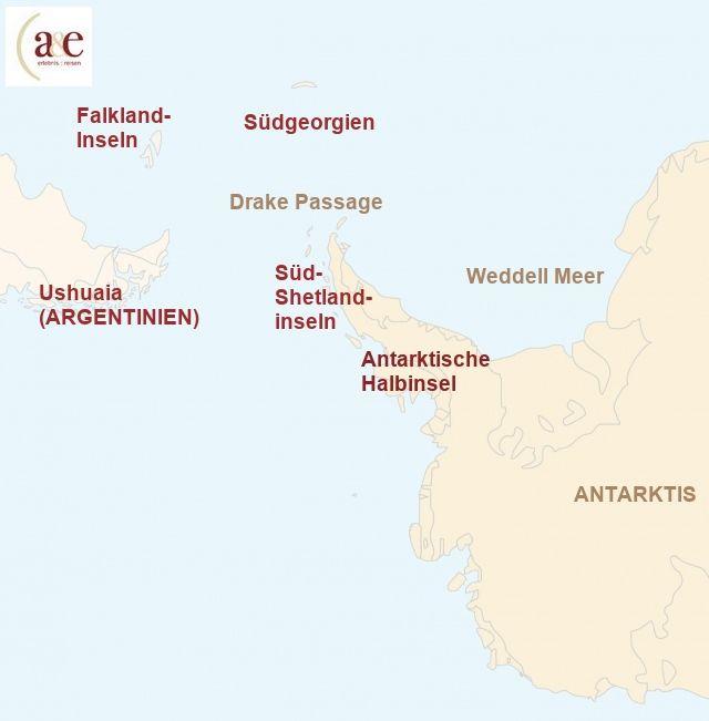 Reiseroute unserer Antarktis Reisen