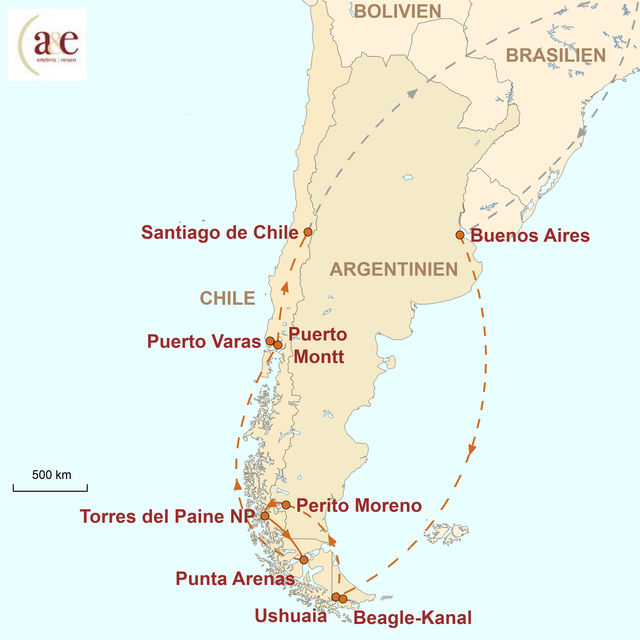 Reiseroute unserer Argentinien Chile Reise Die Weite Patagoniens