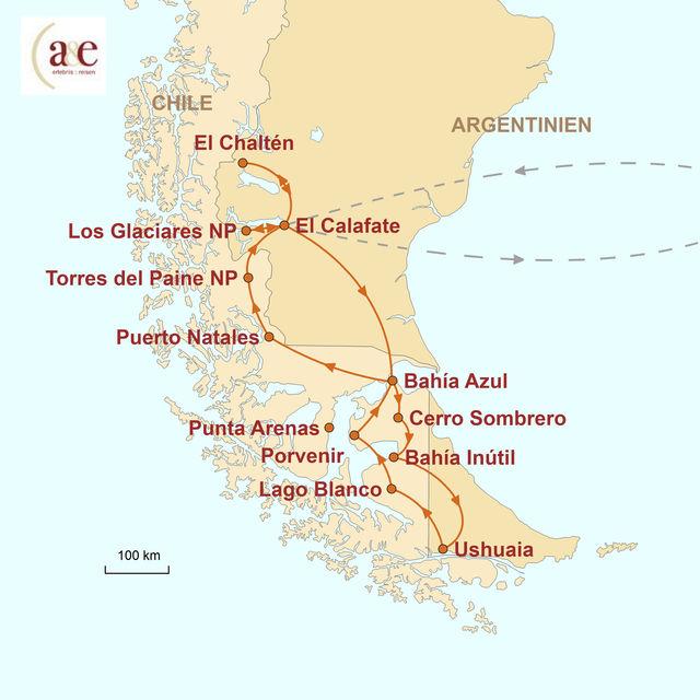 Reiseroute unserer Argentinien Chile Reise Südpatagonien & Feuerland