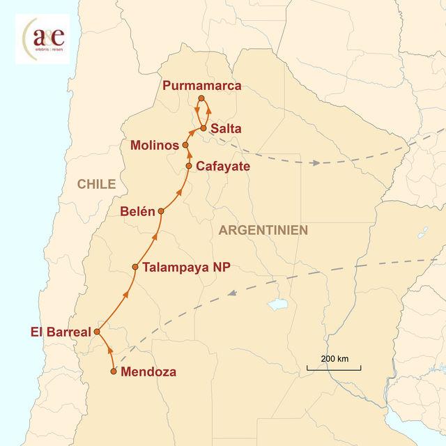 Reiseroute unserer Argentinien Reise Wilder Nordwesten