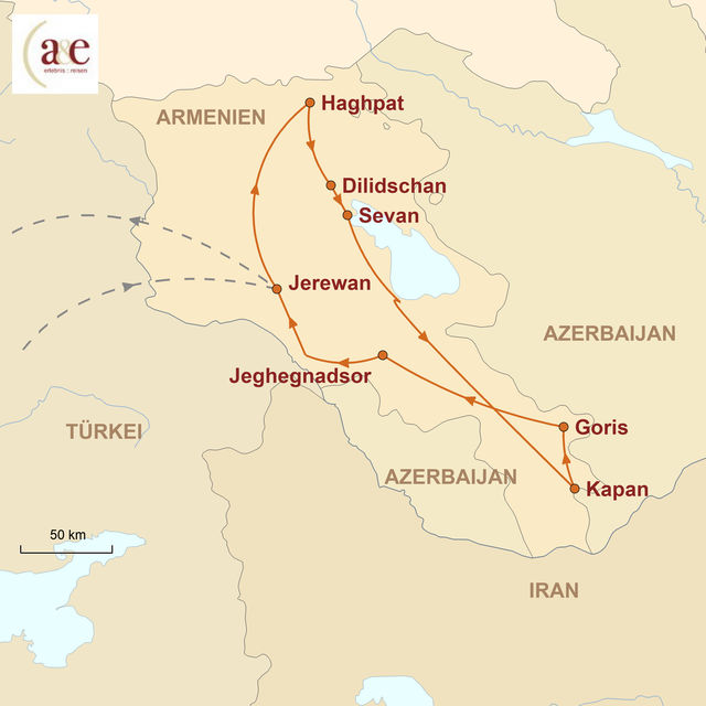 Reiseroute unserer Armenien Reise Authentisch & anders