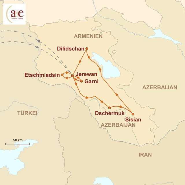 Reiseroute unserer Armenien Reise Zu Füßen des Ararat