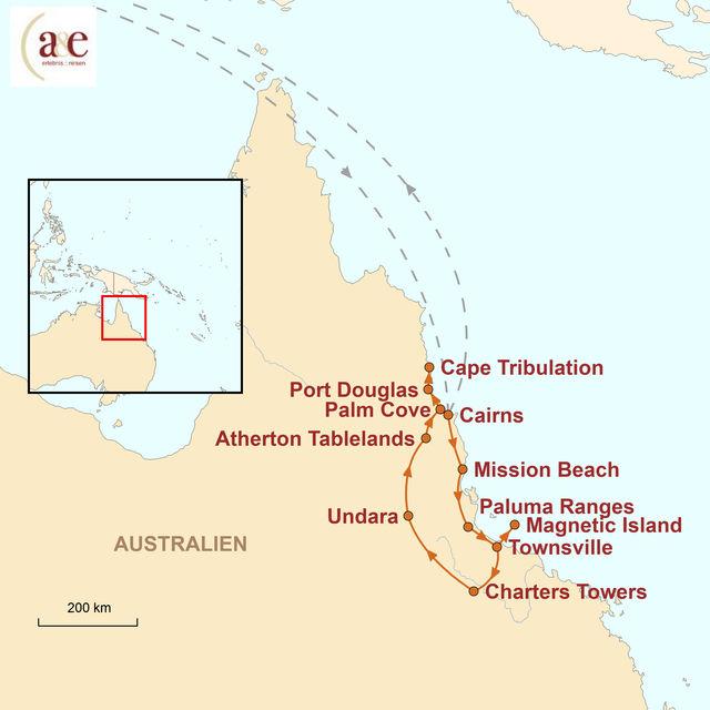 Reiseroute unserer Australien Reise Great Tropical Drive