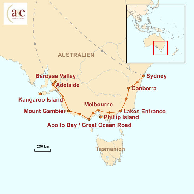 Reiseroute unserer Australien Reise Ocean Drive: Sydney – Adelaide