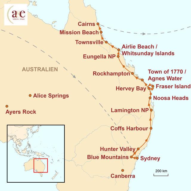 Reiseroute unserer Australien Reise Sunshine Drive: Sydney – Cairns
