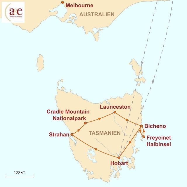 Reiseroute unserer Australien Reise Tasmanien – Wilde Naturschönheit