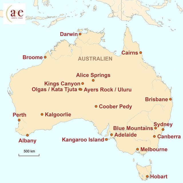 Reiseroute unserer Australien Reise Unterwegs im Campervan