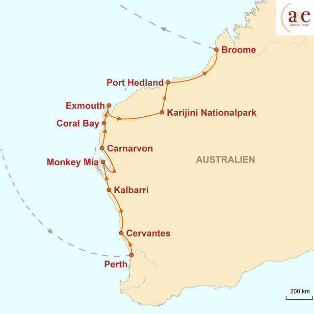 Reiseroute unserer Australien Reise Western Australia: On the Road zwischen Outback & Ozean