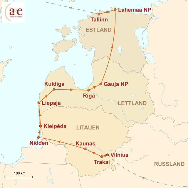 Karte Baltikum Mietwagen Rundreise