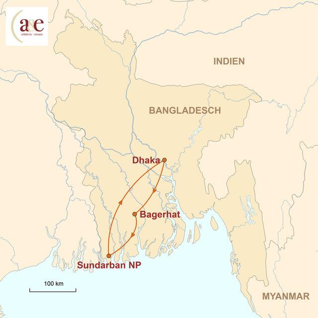 Reiseroute unserer Bangladesch Reise Bootssafari durch die Sunderbans