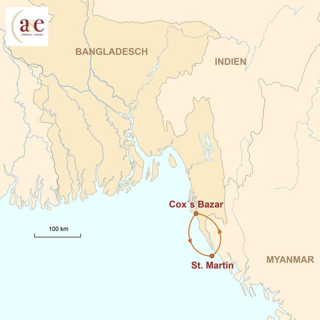 Reiseroute unserer Bangladesch Reise Inseltour & Strandtage in Cox