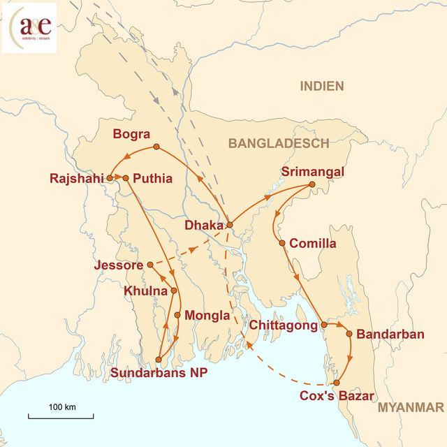 Reiseroute unserer Bangladesch Reisen Juwel am Delta des Ganges & Brahmaputra