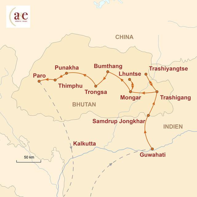 Reiseroute unserer Bhutan Reise Auf den Spuren des Donnerdrachens