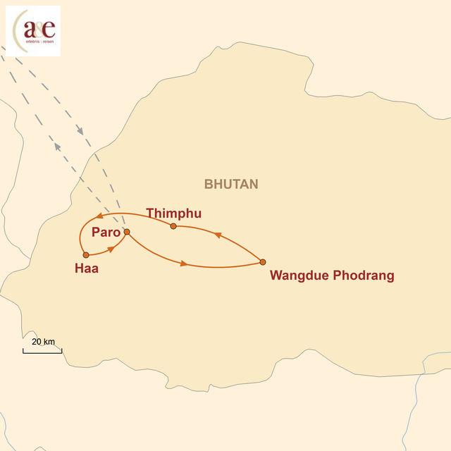 Reiseroute unserer Bhutan Reise Der Westen mit Haa-Tal