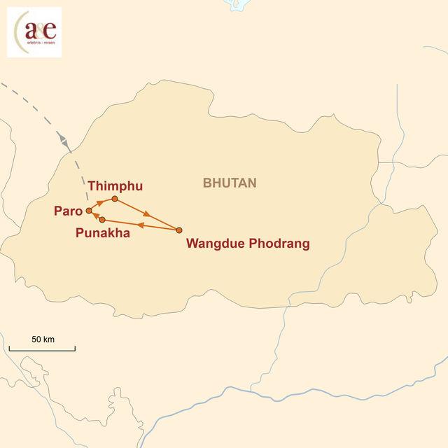 Reiseroute unserer Bhutan Reise Die klassische Route