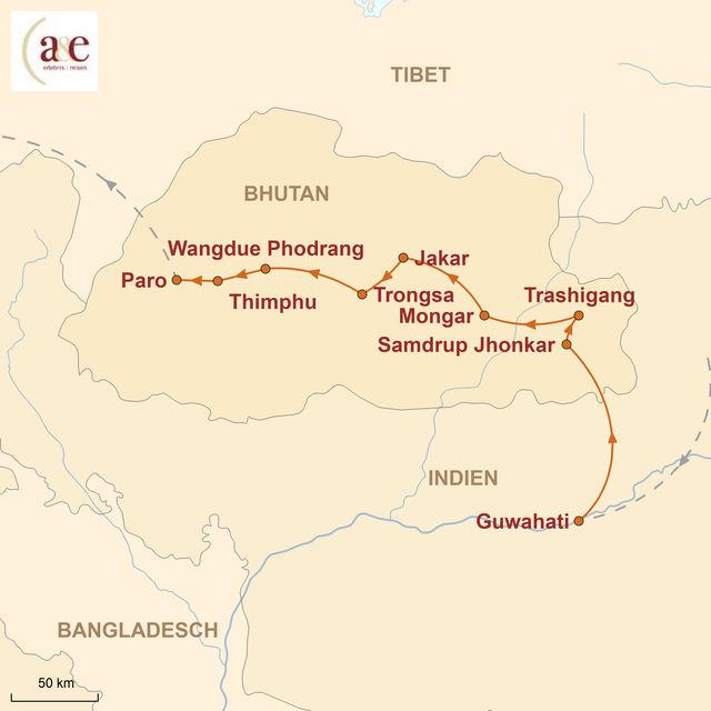 Reiseroute unserer Bhutan Reise Durchquerung von Ost nach West