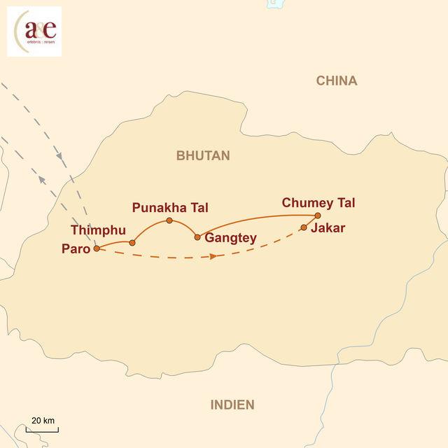 Reiseroute unserer Bhutan Reise Bumthang-Tal