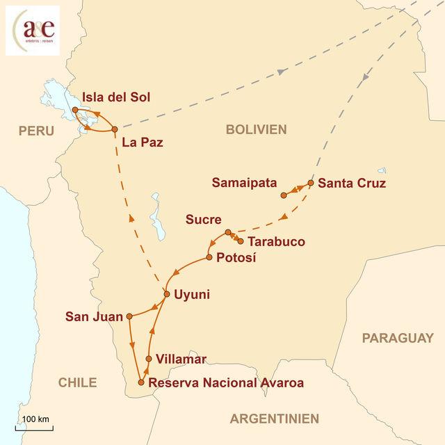 Reiseroute unserer Bolivien Reise Naturwunder Bolivien