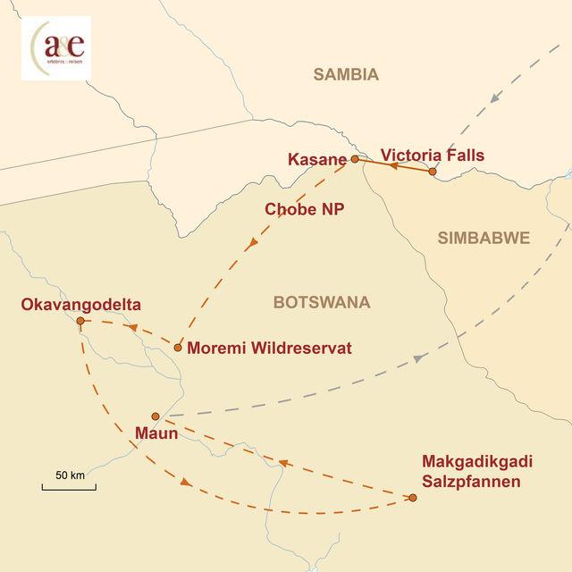 Reiseroute unserer Botswana Reise Abenteuer & Wildnis