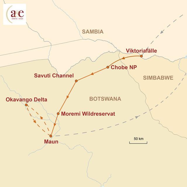 Reiseroute unserer Botswana Reise Das Land der Naturschätze