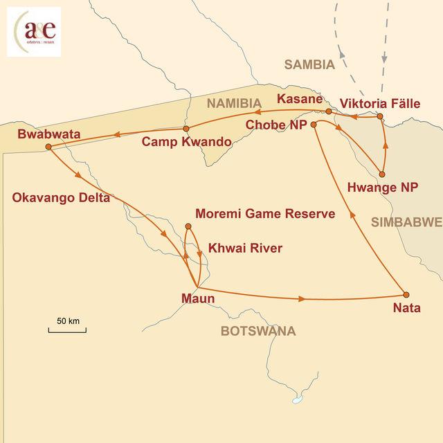 Reiseroute unserer Namibia Botswana Simbabwe Reise Im Reich der wilden Tiere