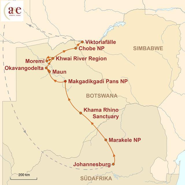 Reiseroute unserer Botswana Reise Untouched!