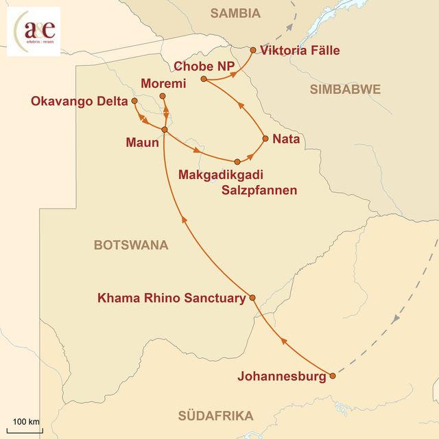 Reiseroute unserer Botswana Reise Wo die wilden Tiere wohnen