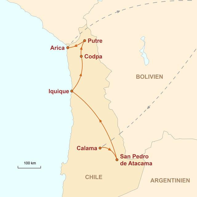 Reiseroute unserer Chile Reise Altiplano, Wüsten und Meer