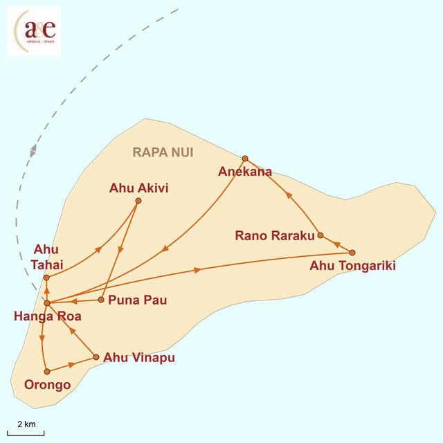 Reiseroute unserer Chile Reise Mythos Rapa Nui