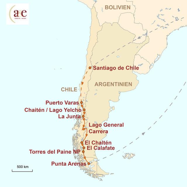 Reiseroute unserer Chile Reise Patagonien Pur