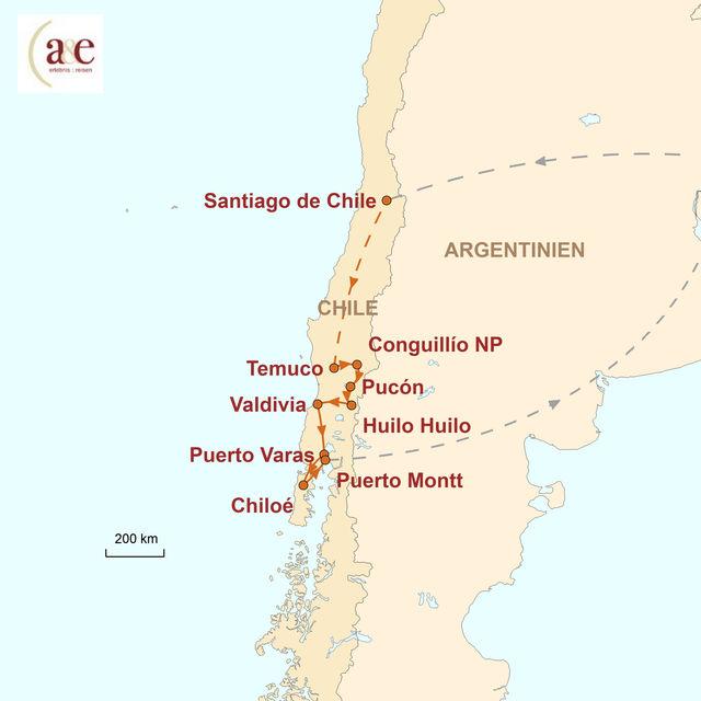 Reiseroute unserer Chile Reise Seen, Vulkane & Chiloé