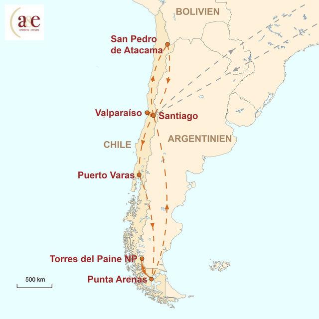 Reiseroute unserer Chile Reise Vom Wüstensand zum Gletschereis