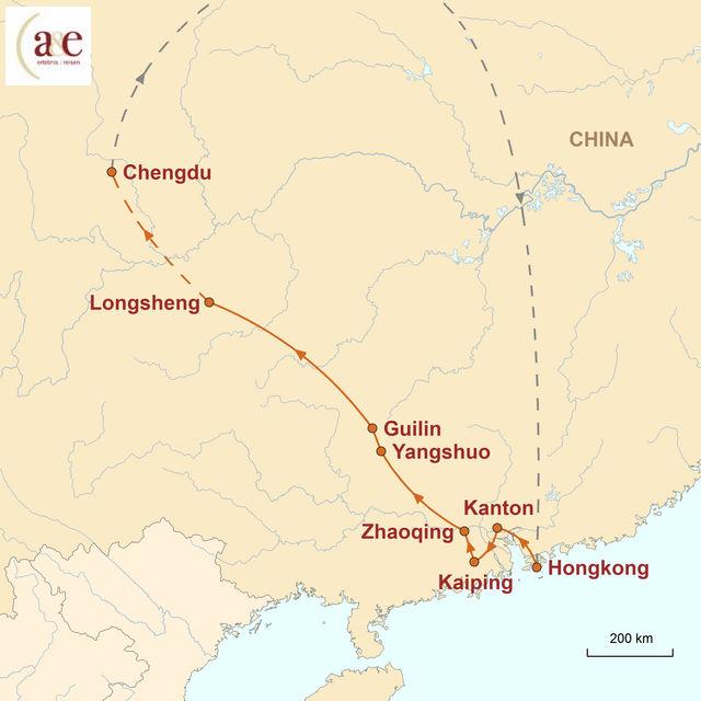 Reiseroute unserer China Reise Südchinas Perlen