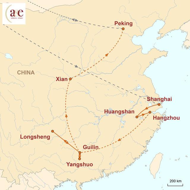 Reiseroute unserer China Reise Zauberberge und Reisterrassen