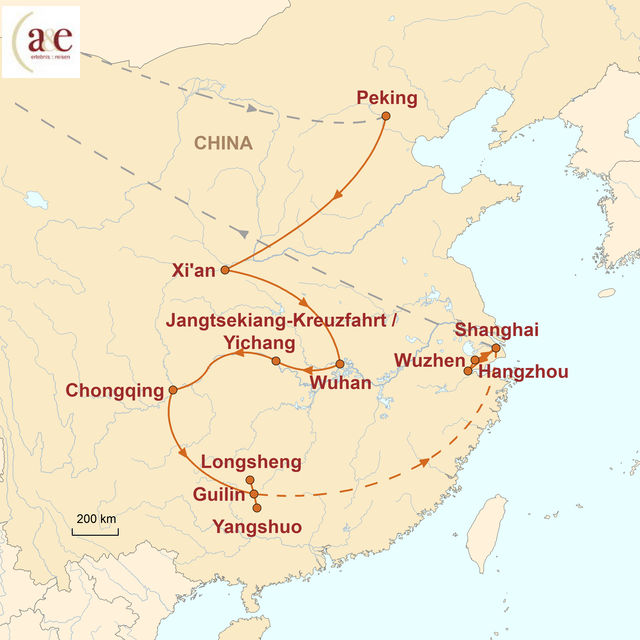 Reiseroute unserer China Reise Zu Land und zu Wasser