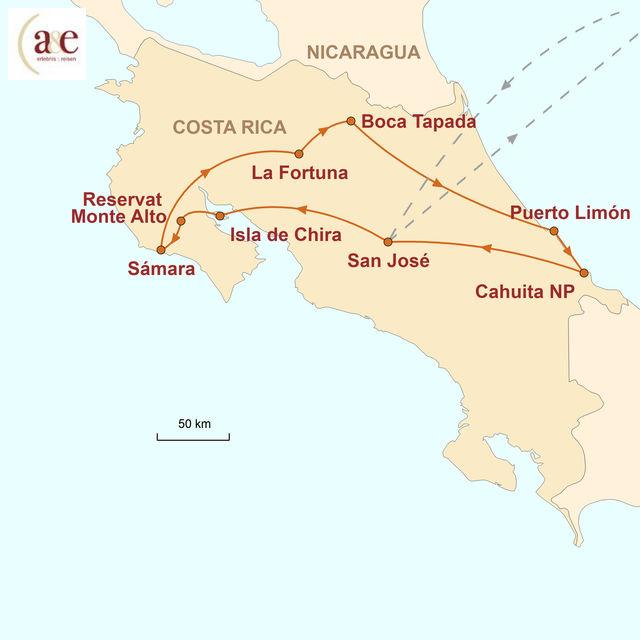Reiseroute unserer Costa Rica Reise Exotisches Naturparadies