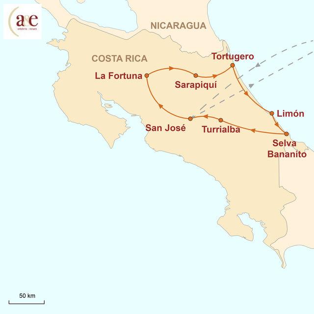 Reiseroute unserer Costa Rica Reise Grünes Paradies in Vollendung