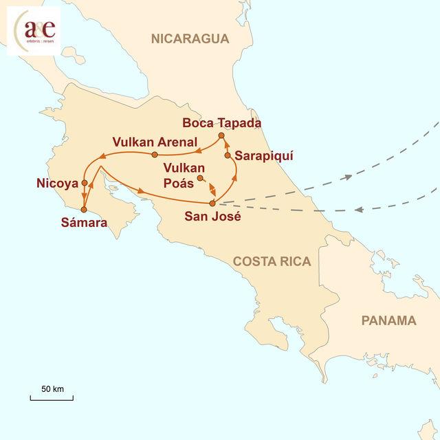 Reiseroute unserer Costa Rica Reise Naturwunder aktiv erleben