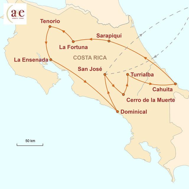 Reiseroute unserer Costa Rica Reise Pura Vida Mietwagenreise