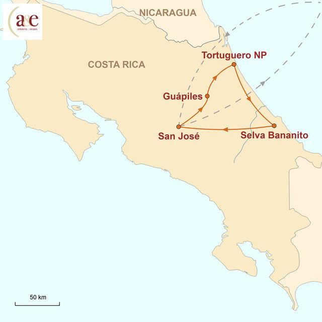 Reiseroute unserer Costa Rica Reise Tortuguero & Selva Bananito