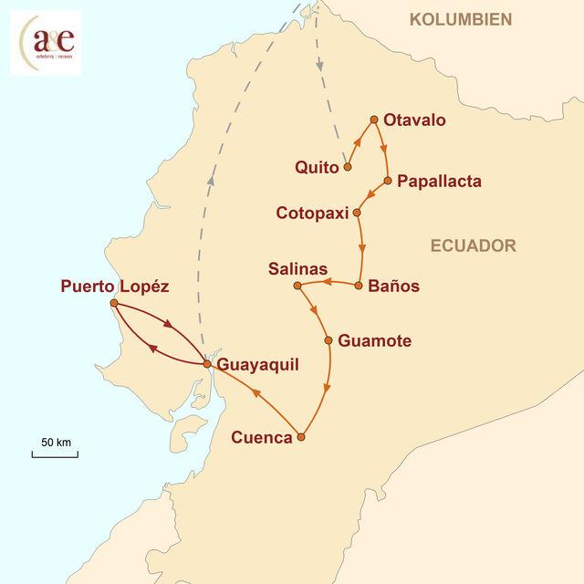Reiseroute unserer Ecuador Reise Kleiner Andenstaat ganz groß