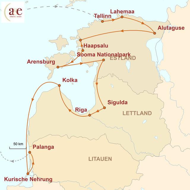Reiseroute unserer Baltikum Reise Estland, Lettland, Litauen – ursprünglich und echt