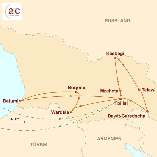 Reiseroute unserer Georgien Reise Im Land des Goldenen Vlieses