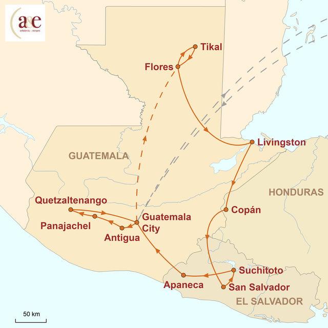 Reiseroute unserer Guatemala Reise Bunte Welt der Maya