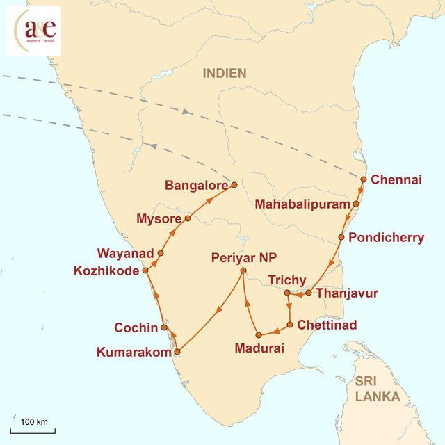 Reiseroute unserer Indien Reise Exotisches Südindien