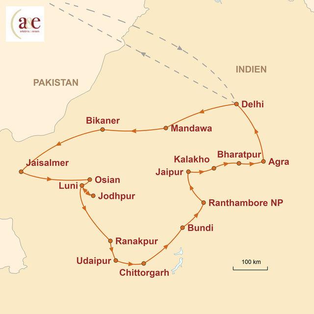 Reiseroute unserer Indien Reise Rajasthan – Paläste, Feste und die Wüste