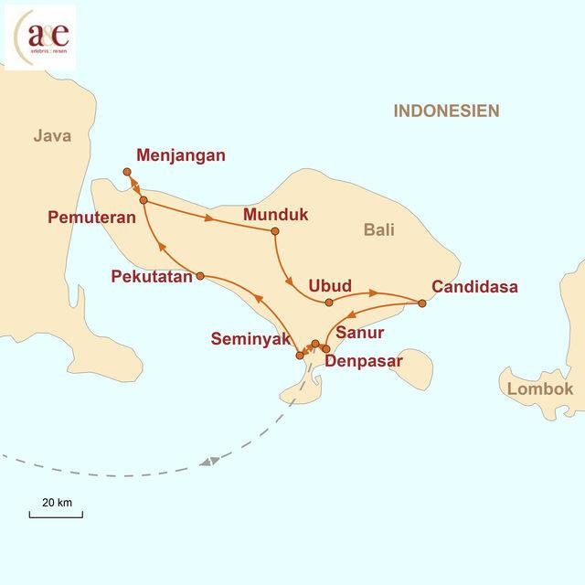 Reiseroute unserer Indonesien Reise Zauberhaftes Inselparadies